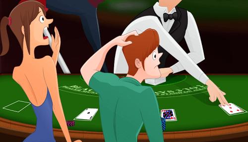 shocked cartoons at Blackjack table
